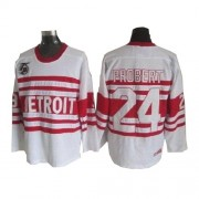 CCM Detroit Red Wings 24 Men's Bob Probert White Authentic Throwback NHL Jersey