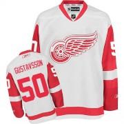 Reebok Detroit Red Wings 50 Men's Jonas Gustavsson White Authentic Away NHL Jersey