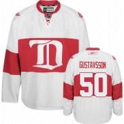 Reebok Detroit Red Wings 50 Men's Jonas Gustavsson White Authentic Third NHL Jersey