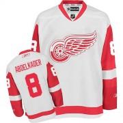 Reebok Detroit Red Wings 8 Men's Justin Abdelkader White Authentic Away NHL Jersey