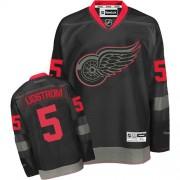 Reebok Detroit Red Wings 5 Men's Nicklas Lidstrom Black Ice Authentic NHL Jersey