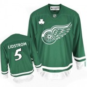 Reebok Detroit Red Wings 5 Men's Nicklas Lidstrom Green Authentic St Patty's Day NHL Jersey