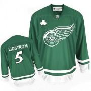 Reebok Detroit Red Wings 5 Men's Nicklas Lidstrom Green Premier St Patty's Day NHL Jersey