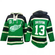 Old Time Hockey Detroit Red Wings 13 Men's Pavel Datsyuk Green Authentic St. Patrick's Day McNary Lace Hoodie NHL Jersey