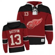Old Time Hockey Detroit Red Wings 13 Men's Pavel Datsyuk Red Authentic Sawyer Hooded Sweatshirt NHL Jersey