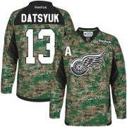 Reebok Detroit Red Wings 13 Men's Pavel Datsyuk Camo Premier Veterans Day Practice NHL Jersey