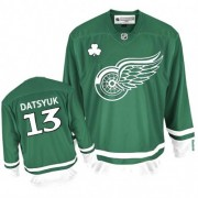 Reebok Detroit Red Wings 13 Men's Pavel Datsyuk Green Premier St Patty's Day NHL Jersey