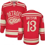 Reebok Detroit Red Wings 13 Men's Pavel Datsyuk Red Premier 2014 Winter Classic NHL Jersey