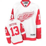 Reebok Detroit Red Wings 13 Men's Pavel Datsyuk White Authentic Away NHL Jersey