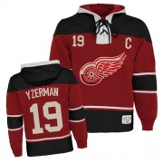 Old Time Hockey Detroit Red Wings 19 Men's Steve Yzerman Red Authentic Sawyer Hooded Sweatshirt NHL Jersey