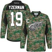 Reebok Detroit Red Wings 19 Men's Steve Yzerman Camo Premier Veterans Day Practice NHL Jersey