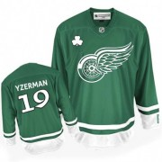 Reebok Detroit Red Wings 19 Men's Steve Yzerman Green Premier St Patty's Day NHL Jersey
