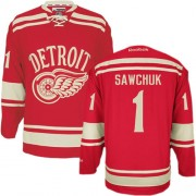 Reebok Detroit Red Wings 1 Men's Terry Sawchuk Red Authentic 2014 Winter Classic NHL Jersey