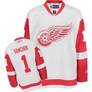 Reebok Detroit Red Wings 1 Men's Terry Sawchuk White Premier Away NHL Jersey