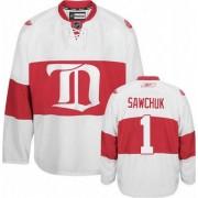 Reebok Detroit Red Wings 1 Men's Terry Sawchuk White Premier Third NHL Jersey