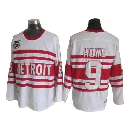 finest selection 1d8ab b2fbd CCM Detroit Red Wings 9 Men's Gordie Howe White Authentic Throwback NHL  Jersey