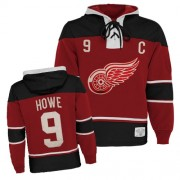 Old Time Hockey Detroit Red Wings 9 Men's Gordie Howe Red Authentic Sawyer Hooded Sweatshirt NHL Jersey