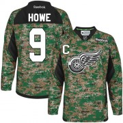 Reebok Detroit Red Wings 9 Men's Gordie Howe Camo Premier Veterans Day Practice NHL Jersey