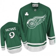 Reebok Detroit Red Wings 9 Men's Gordie Howe Green Premier St Patty's Day NHL Jersey
