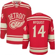 Reebok Detroit Red Wings 14 Men's Gustav Nyquist Red Authentic 2014 Winter Classic NHL Jersey