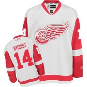 Reebok Detroit Red Wings 14 Men's Gustav Nyquist White Authentic Away NHL Jersey