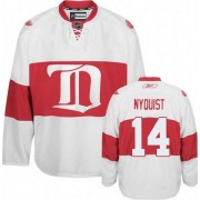 Reebok Detroit Red Wings 14 Men's Gustav Nyquist White Authentic Third NHL Jersey