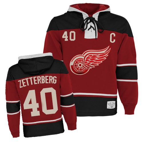 Old Time Henrik Zetterberg Red Authentic Sawyer Hooded Sweatshirt Jersey - Red  Wings Shop 44f2c98be