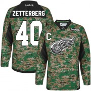 Reebok Detroit Red Wings 40 Men's Henrik Zetterberg Camo Authentic Veterans Day Practice NHL Jersey