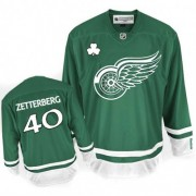 Reebok Detroit Red Wings 40 Men's Henrik Zetterberg Green Authentic St Patty's Day NHL Jersey