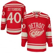 Reebok Detroit Red Wings 40 Men's Henrik Zetterberg Red Authentic 2014 Winter Classic NHL Jersey