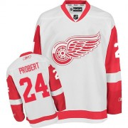 Reebok Detroit Red Wings 24 Men's Bob Probert White Authentic Away NHL Jersey