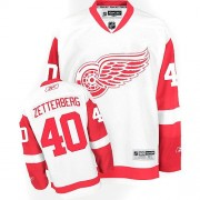 Reebok Detroit Red Wings 40 Men's Henrik Zetterberg White Authentic Away NHL Jersey